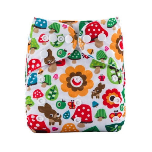CCN338 - BTP - Colourful Toadstools on White Reusable Cloth Nappy