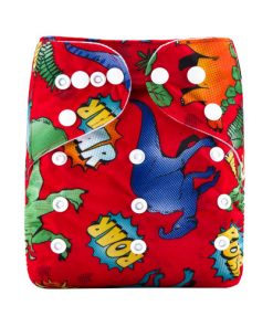 CCN339 - BTP - Dinosaurs Roar on Red Reusable Cloth Nappy