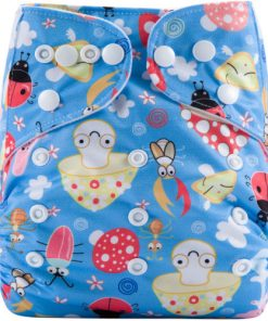 CCN346 - BTP - Insects & Toadstools on Blue Reusable Cloth Nappy