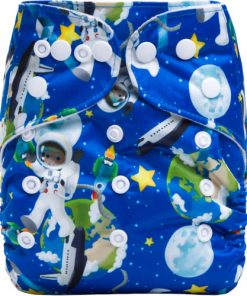 CCN347 - BTP - Astronauts in Space on Blue Reusable Cloth Nappy