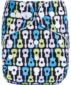 CCN349 - BTP - Guitars on Black Reusable Cloth Nappy