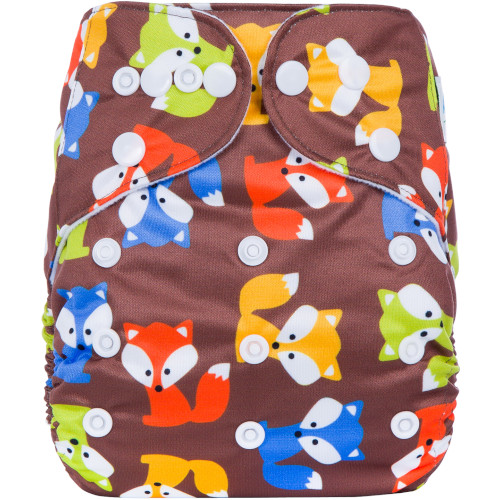 CCN351 - BTP - Coloured Foxes on Brown Reusable Cloth Nappy