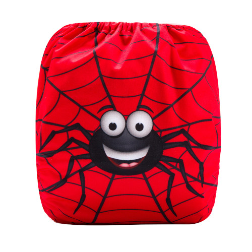 CCN353 - BTP - Spider on Red (Positioned Print) Reusable Cloth Nappy