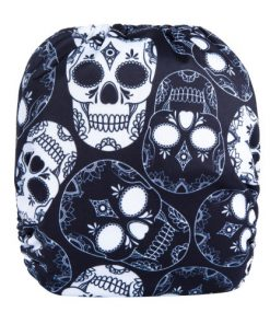 CCN355 - BTP - Skulls on Black Reusable Cloth Nappy