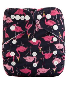 CCN357 - BTP - Pink Flamingos on Black Reusable Cloth Nappy