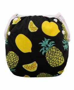 Pineapples on Black Reusable Swim Nappy