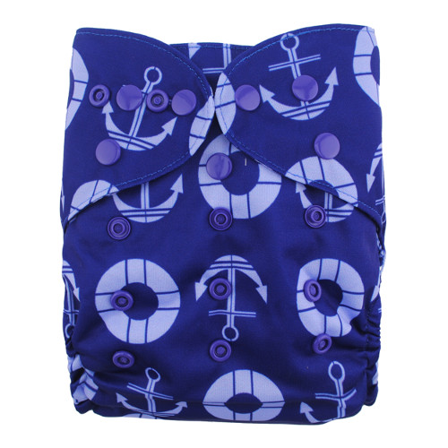 Anchors on Blue Nappy Cover