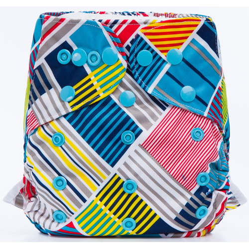 Striped Rectangles design BTP Reusable Nappy Wrap