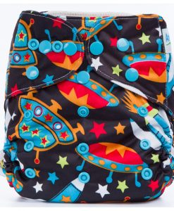 Spaceships on Black design BTP Reusable Nappy Wrap