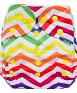 Rainbow Zig Zag design BTP Reusable Nappy Wrap