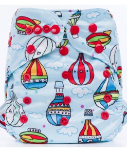 Hot Air Balloons on Blue design BTP Reusable Nappy Wrap